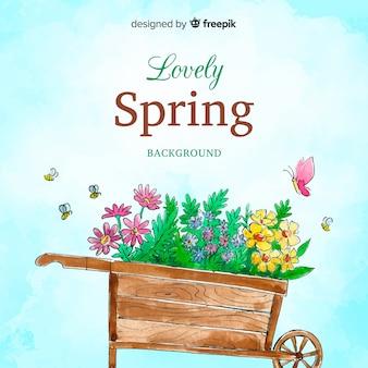 Fundo de primavera de carrinho de mão em aquarela
