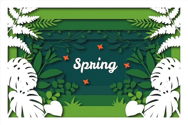 Fundo de primavera de estilo de papel