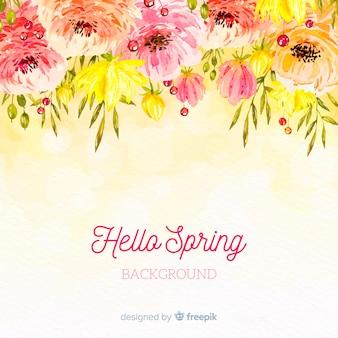 Fundo de primavera de flores em aquarela