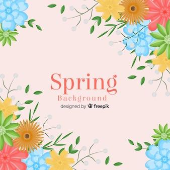 Fundo de primavera de flores planas
