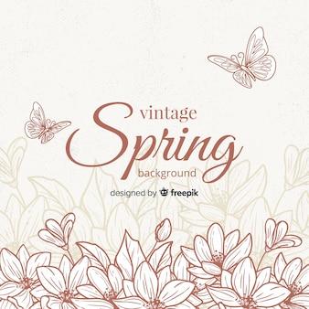 Fundo de primavera de flores vintage