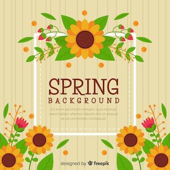 Fundo de primavera de girassóis planos
