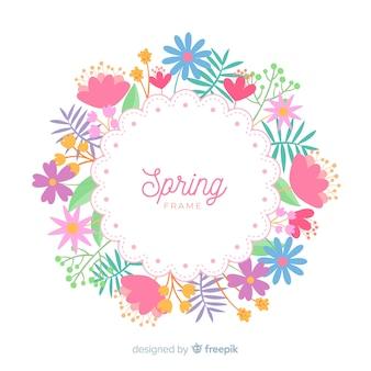 Fundo de primavera de moldura floral