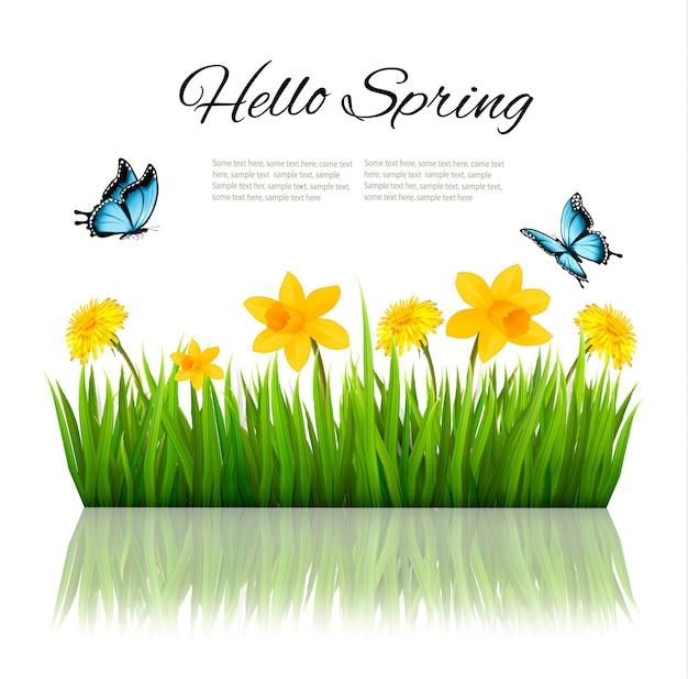 Fundo de primavera de natureza com grama, flores e borboletas. vetor.