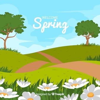Fundo de primavera de paisagem de campo
