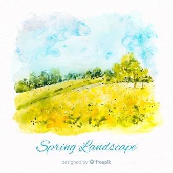 Fundo de primavera de paisagem em aquarela