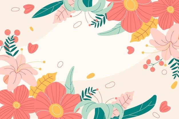 Fundo de primavera desenhado à mão com flores
