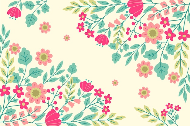 Fundo de primavera desenhado com flores
