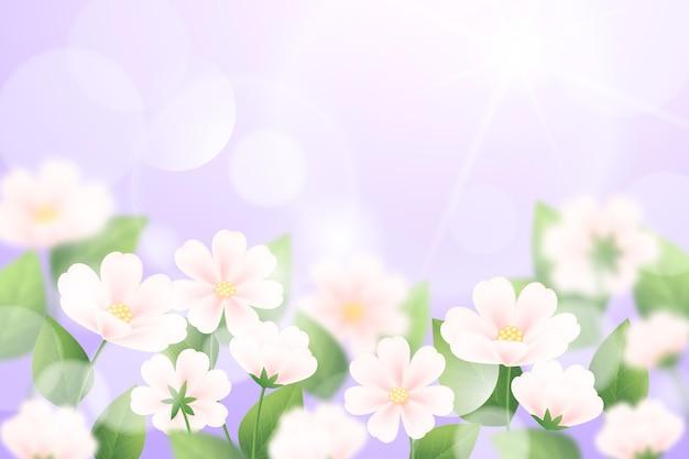 Fundo de primavera desfocado realista de céu violeta
