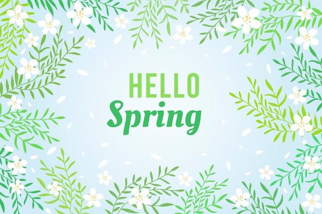 Fundo de primavera design plano com galhos