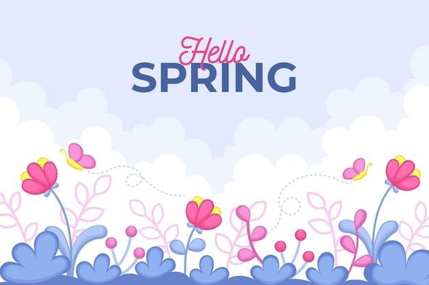 Fundo de primavera design plano e flores e borboleta