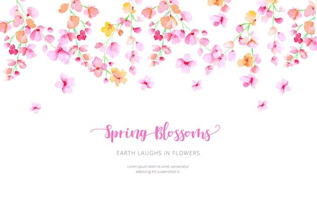 Fundo de primavera em aquarela