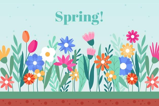 Fundo de primavera em design plano