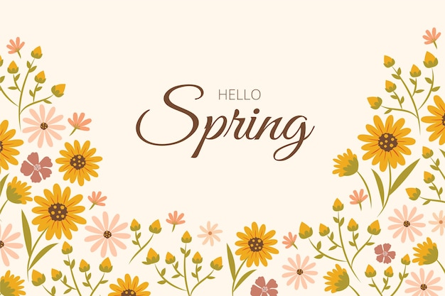 Fundo de primavera floral design plano com letras
