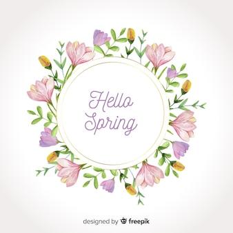 Fundo de primavera floral moldura aquarela