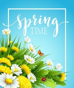 Fundo de primavera fresca com grama, flores e margaridas. ilustração