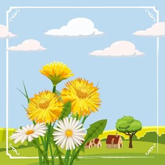 Fundo de primavera fresca com grama, flores e margaridas