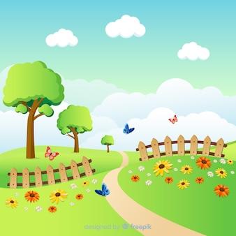 Fundo de primavera linda campo