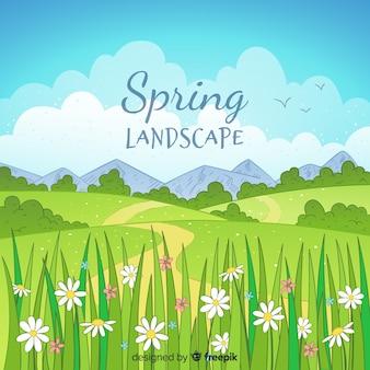 Fundo de primavera mão desenhada paisagem