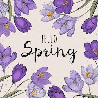 Fundo de primavera mão desenhada violetas