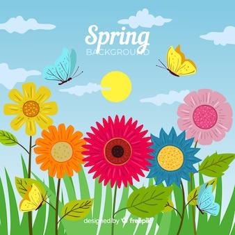 Fundo de primavera mão desenhada