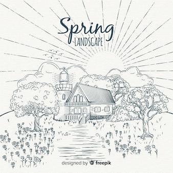 Fundo de primavera paisagem incolor