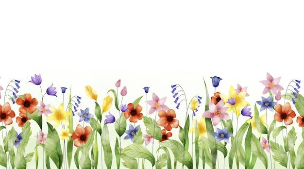 Fundo de primavera pintado com aquarela