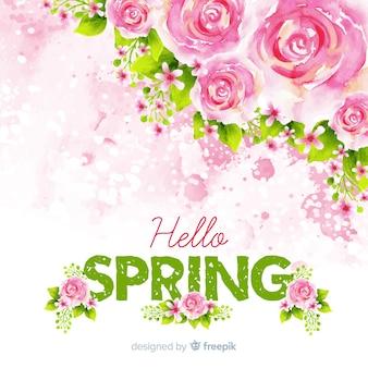 Fundo de primavera rosas aquarela