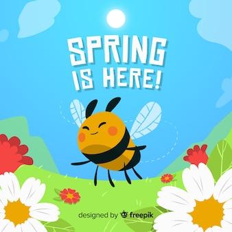 Fundo de primavera voando de abelha