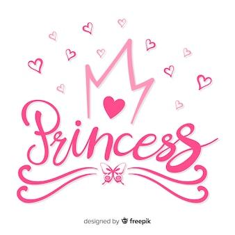 Fundo de princesa caligráfica