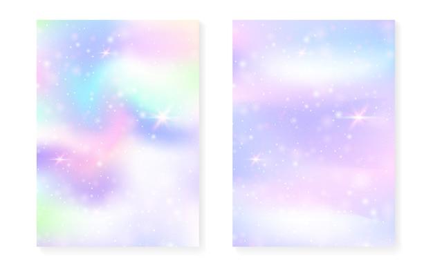Fundo de princesa com gradiente de arco-íris kawaii. holograma mágico unicórnio.