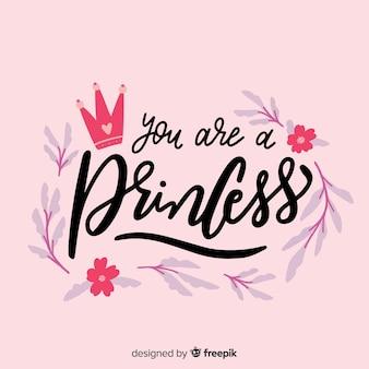 Fundo de princesa rosa caligráfico
