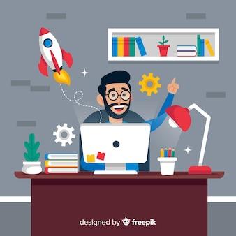 Fundo de processo criativo de design gráfico
