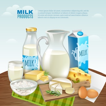Fundo de produtos de leite