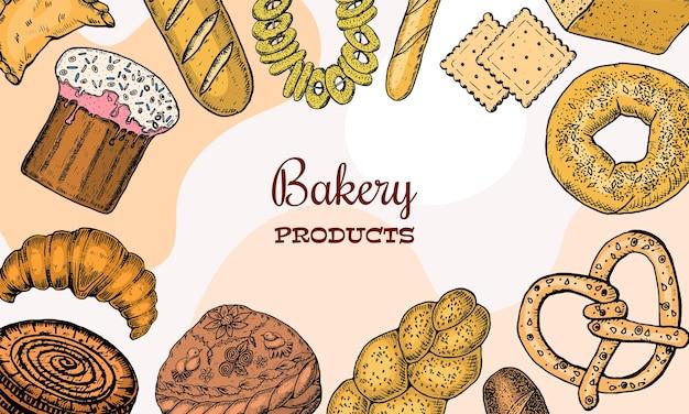 Fundo de produtos de panificação ou cartão postal rosquinhas, biscoitos, bagels e torta de baguete e croissan