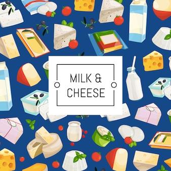 Fundo de produtos lácteos e queijo dos desenhos animados