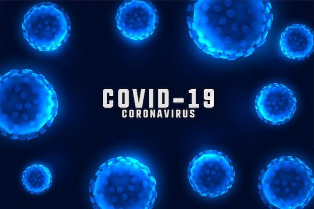 Fundo de projeto de coronavírus com células azuis flutuantes