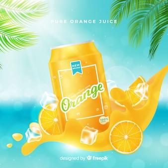 Fundo de propaganda de suco de laranja