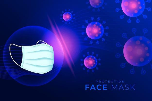 Fundo de proteção contra coronavírus com máscara facial
