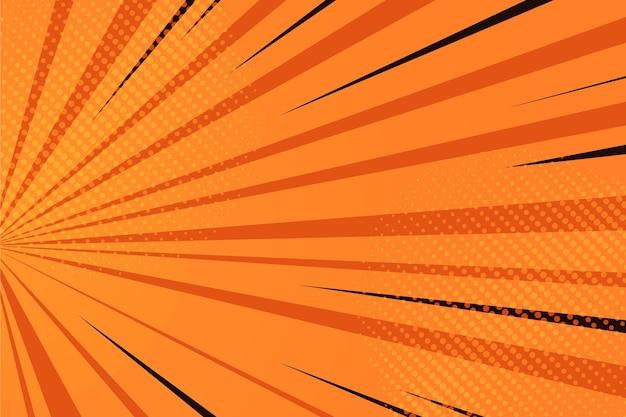 Fundo de quadrinhos laranja de design plano