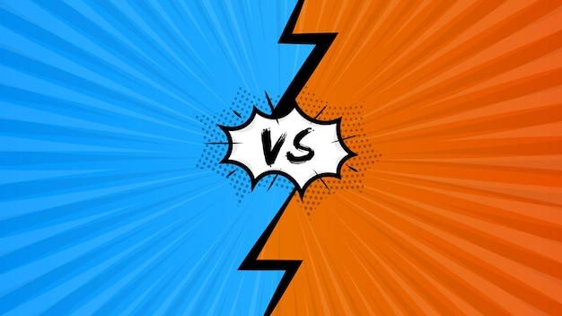 Fundo de quadrinhos pop art com versus ilustração