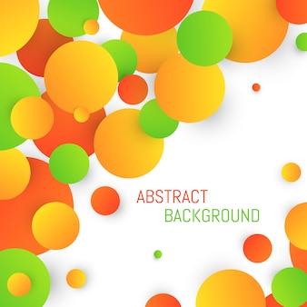 Fundo de quadro colorido com círculos laranja e verdes