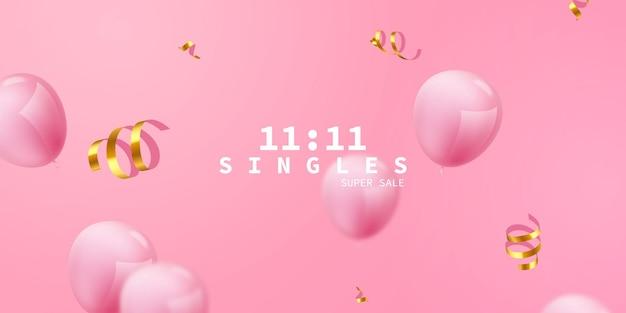 Fundo de quadro de celebração rosa balões. confete de ouro reluz para cartaz de evento e feriado. super venda de solteiros