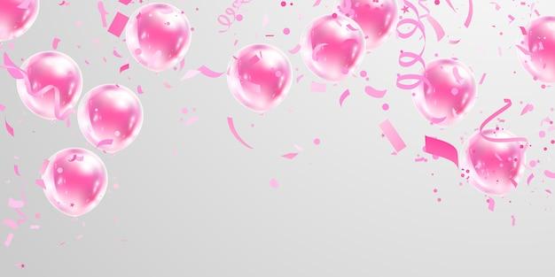 Fundo de quadro de celebração rosa balões. confete ouro reluz para cartaz de evento e feriado.