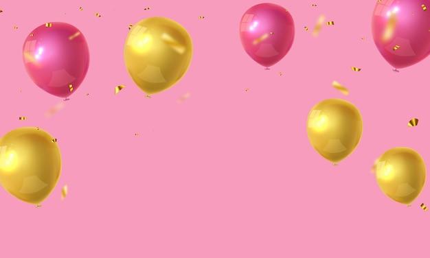 Fundo de quadro de celebração rosa ouro de balões. confete de ouro reluz para cartaz de evento e feriado.