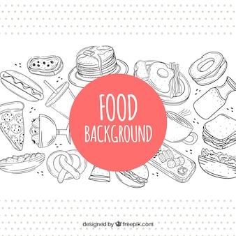 Fundo de quadro de comida na mão desenhada estilo