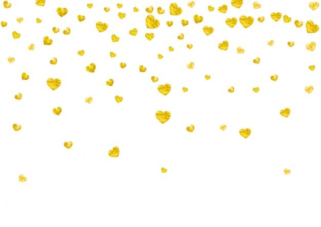 Fundo de quadro de coração com corações de glitter dourados.