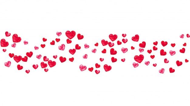 Fundo de quadro de coração com corações de glitter vermelho.
