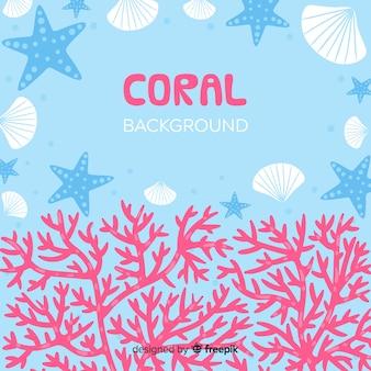 Fundo de quadro de coral desenhado de mão