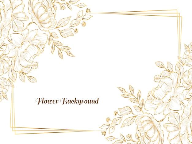 Fundo de quadro de flor de esboço desenhado à mão dourada